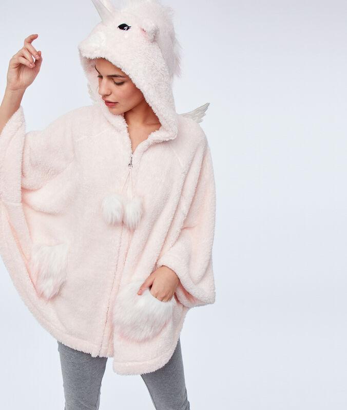 Vesta s kapucí z nepravé kožešiny růžová.