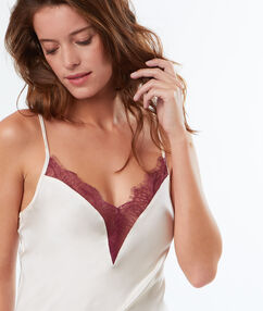 Top satin dentelle contrastée rose.