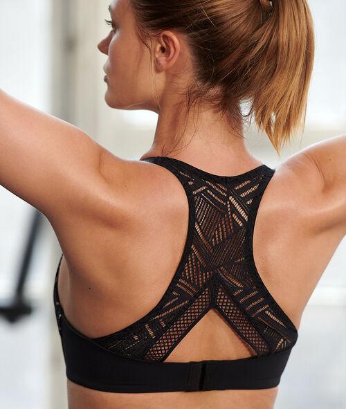 Sportovní podprsenka s krajkovými zády - silná podpora