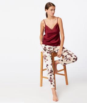 Široké květinové kalhoty béžová.