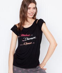 Tričko s popiskem černá.