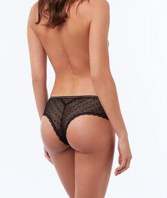 Bokové kalhotky skvětinovou krajkou černá.