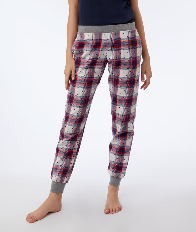 Kárované a puntíkované kalhoty béžová/červená/námořnická modrá.