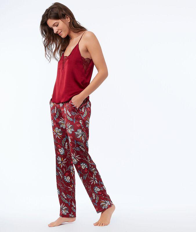 Květinové saténové kalhoty červená.