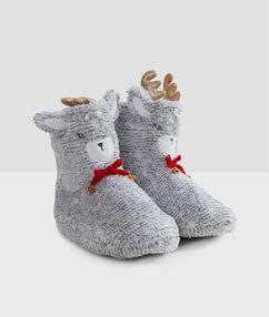 Kožešinové papuče 3d gris.