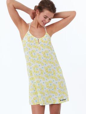 Noční košilka spotiskem smotivem citronu žlutá.