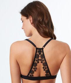 Soutien-gorge triangle, bordures dentelle fleurie, dos nageur noir.