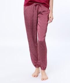 Saténové kalhoty z mikrovlákna spotiskem   bordeaux.