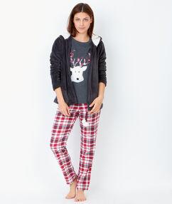 3 dílné pyžamo, kostkované kalhoty a mikina flísová na dotyk   antracit.