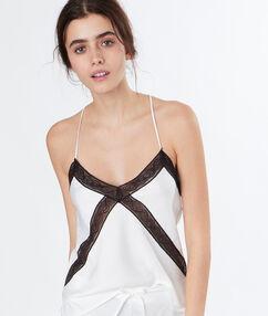 Dámský top s kontrastní krajkou blanc.