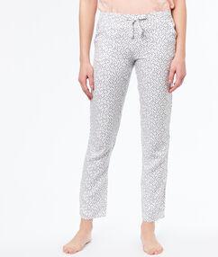 Kalhoty z mikrovlákna s potiskem  blanc.