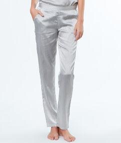 Pruhované kalhoty satén gris.