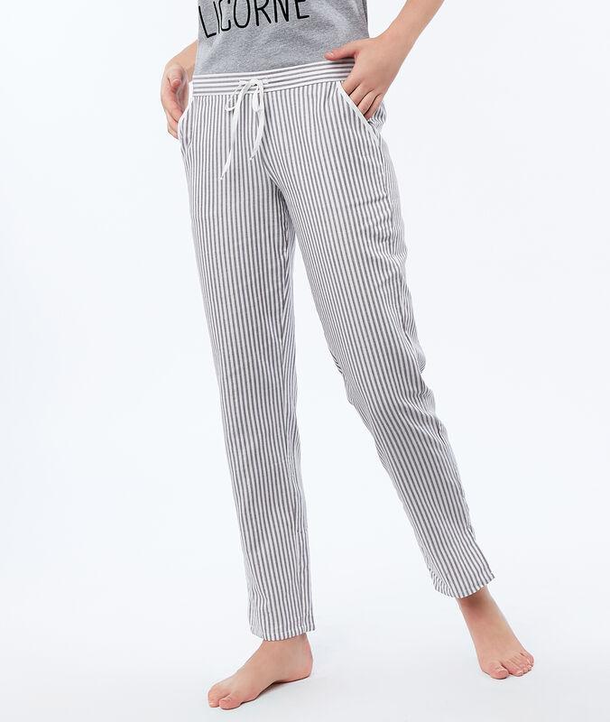 Proužkované kalhoty ecru.