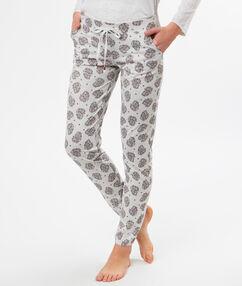 Pantalon imprimé ethnique gris.