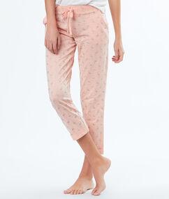 Kalhoty s potiskem s růžovými plameňáky z flitrů rose.