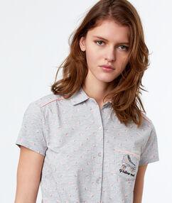 Pánská košile od pyžama s potiskem s potiskem na zavázání gris.