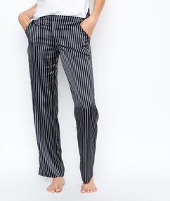 Saténové pruhované kalhoty černá.