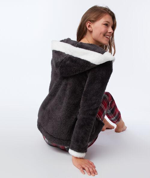 Třídílné pyžamo s nepravou kožešinou