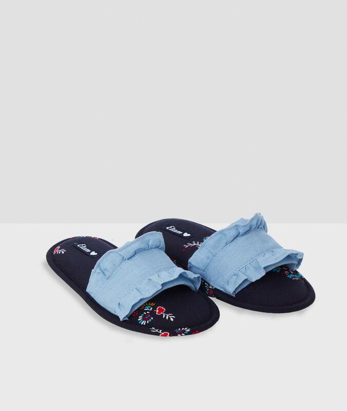 Otevřené papuče spotiskem modrá.