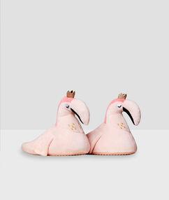 Papuče s růžovými plameňáky růžová.