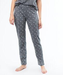 Kalhoty s potiskem s malými kytičkami  gris.