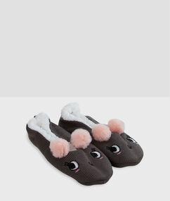Papuče měkká podšívka se zvířecím motivem gris.