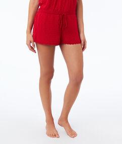 Vyšívané šortky červená.