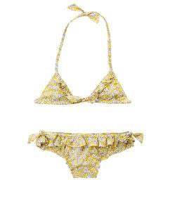 Kompletní plavky horní díl + spodní díl se vzorem liberty pro dívky žlutá.