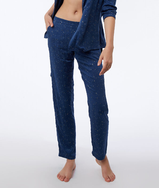 Kalhoty s motivem hvězd modrá.