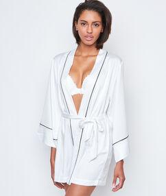 Domácí kimono kontrastní saténové bílá.