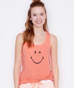 Top s potiskem smiley oranžová.