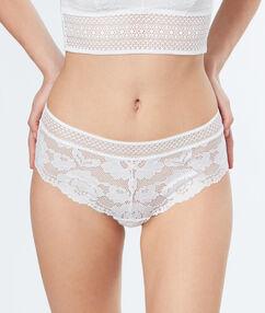 Kalhotky shorty krajkové skvětinovým vzorem ecru.