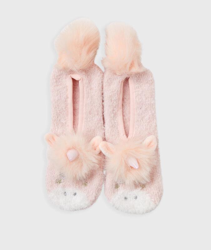 Měkké pantofle sjednorožcem růžová.