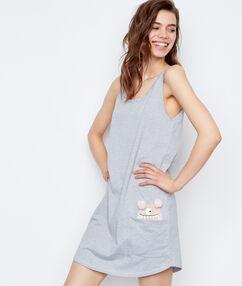 Pruhovaná noční košilka spotiskem příšerka  gris.