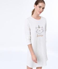 Košilka s potiskem kočičí jednorožec white.