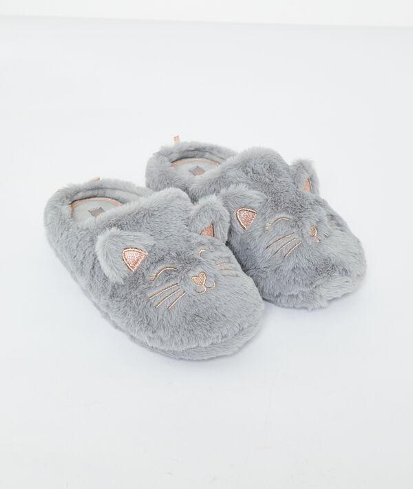Pantofle s kočkami z umělé kožešiny