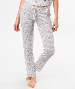 Pantalon imprimé éléphants gris.