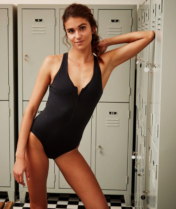 Pruhované jednodílné plavky se zipem černá.