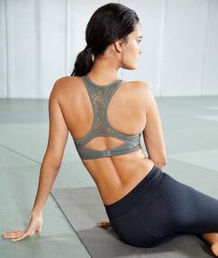 Sportovní brassiere, vyjímatelné vycpávky and zápasnická záda  - střední podpora kaki.