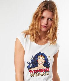 T-shirt imprimé wonder woman blanc.