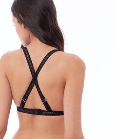 Triangle en dentelle, dos croisé noir.