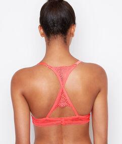 Podprsenka push up, zkřížená ramínka na zádech růžová bonbon.