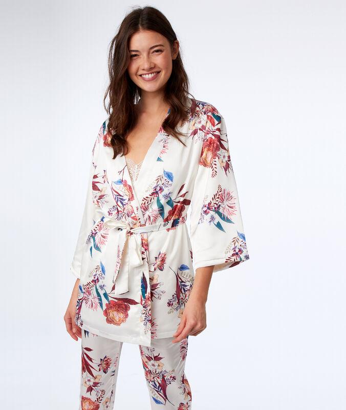 Negližé kimono s květinovým potiskem béžová.