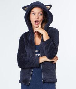 Pyžamový kabátek s kočičíma ušima bleu marine.