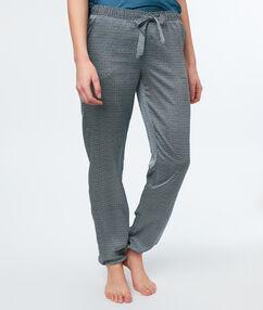 Saténové kalhoty z mikrovlákna spotiskem gris.