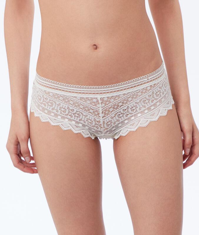 Krajkové kalhotky shorty perlově bílá.