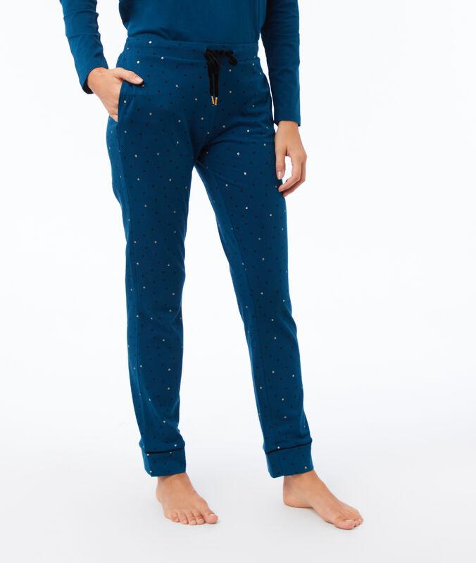 Kalhoty s potiskem tyrkysová.