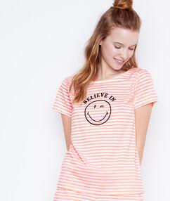 Tričko s potiskem smiley oranžová.