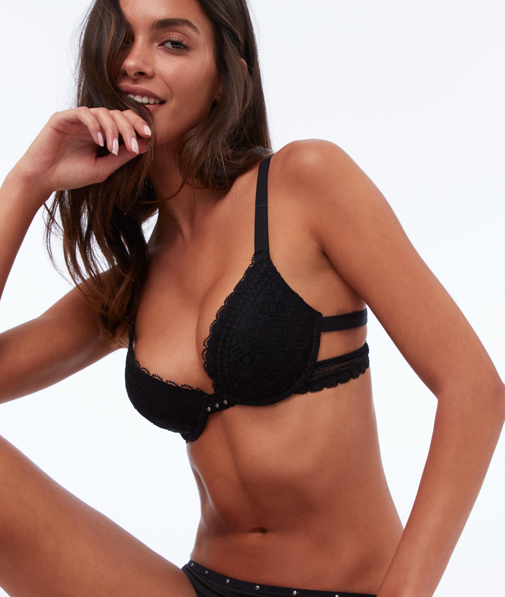 f2c90c4d9f2f7 Bra n°2 - lace push-up bra with small studs - Etam