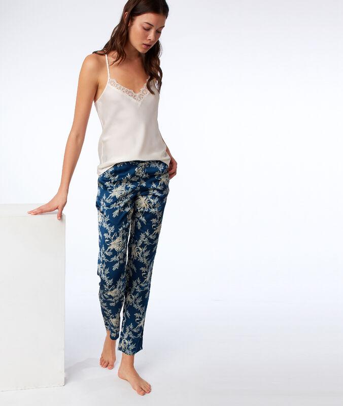 Saténové kalhoty s květinovým motivem modrá.